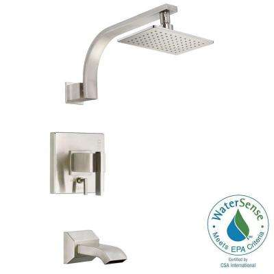 Sirius 1-Handle Pressure Balance Tub and Shower Faucet Trim Kit in Brushed Nickel (Valve Not Included)