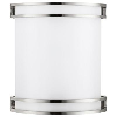10 in. Dimmable Energy Star LED Wall Sconce with Brushed Nickel and Half Cylinder White Acrylic Shade, Cool White 4000K