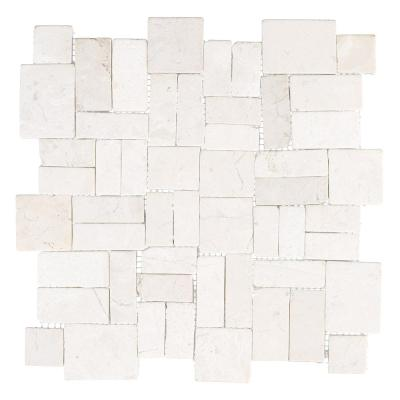 Road Rock Fog White 11.75 in. x 11.75 in. x 10mm Pebble Stone Mosaic Wall and Floor Tile