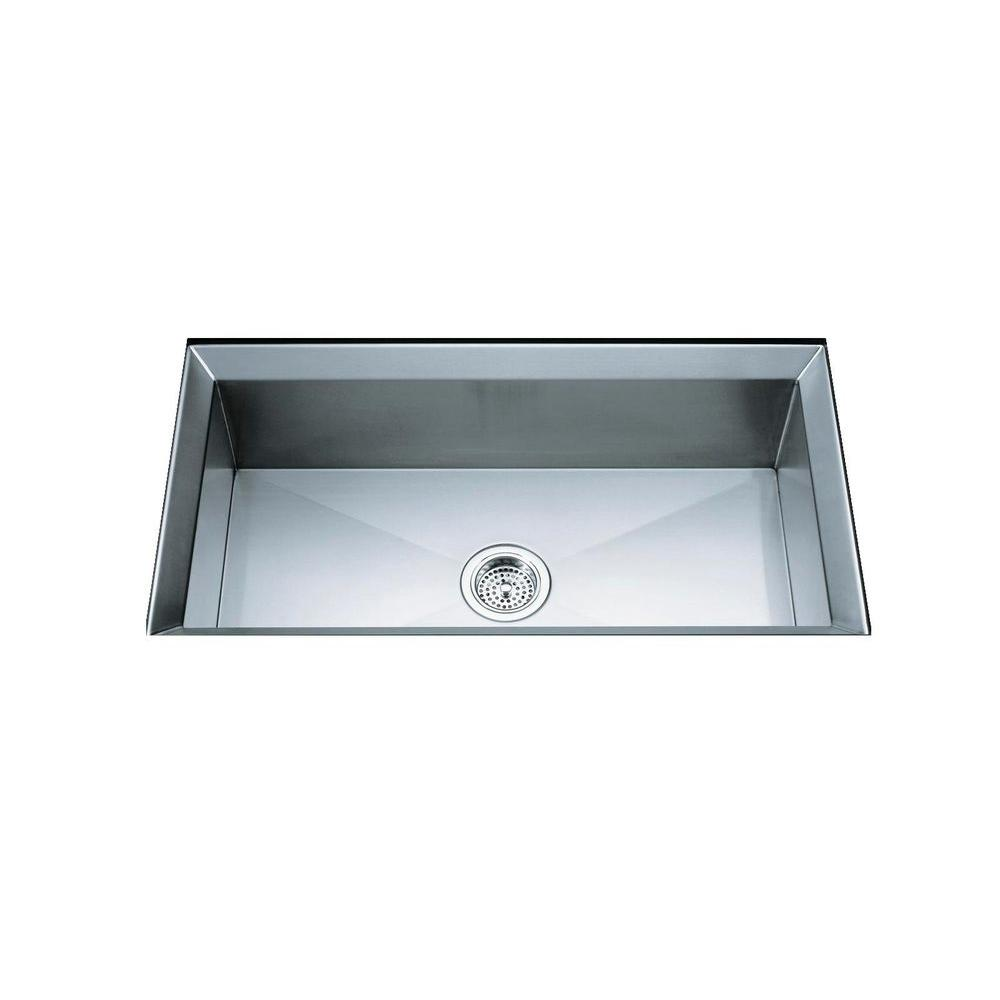 KOHLER Poise Undermount Stainless Steel 33 in. Single Bowl Kitchen ...