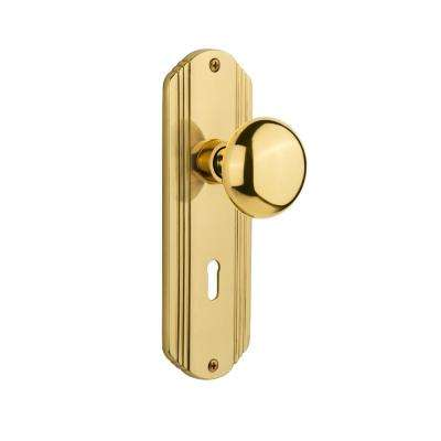 Deco Plate with Keyhole Double Dummy New York Door Knob in Polished Brass