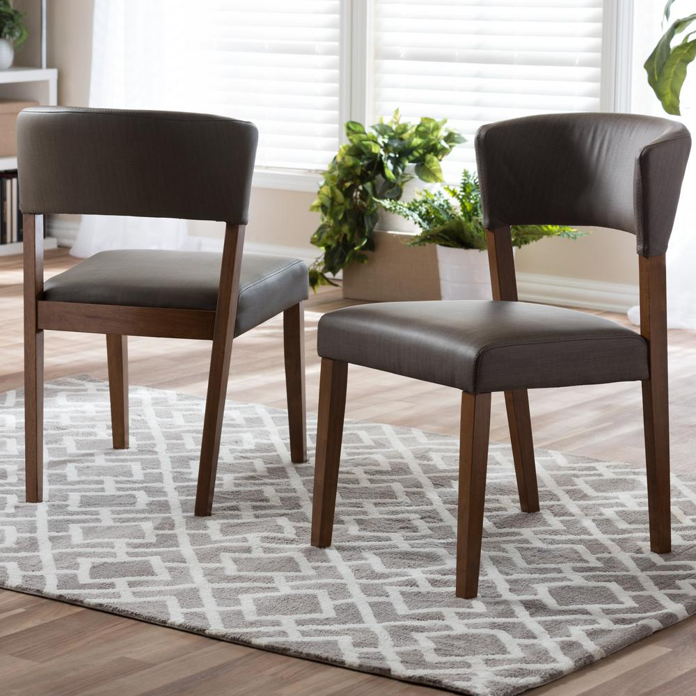 Good Baxton Studio Montreal Gray Faux Leather Upholstered Dining Chairs (Set Of  2)