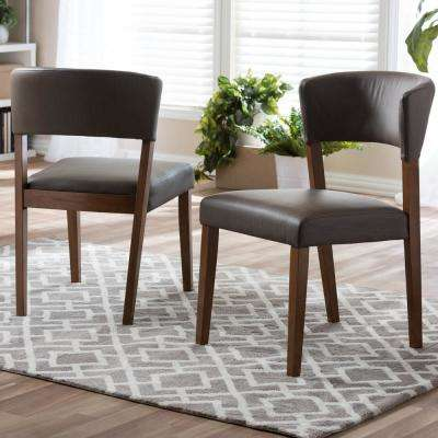Montreal Gray Faux Leather Upholstered Dining Chairs (Set of 2)