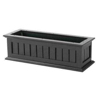 24 in. Black Nantucket Wood Window Box