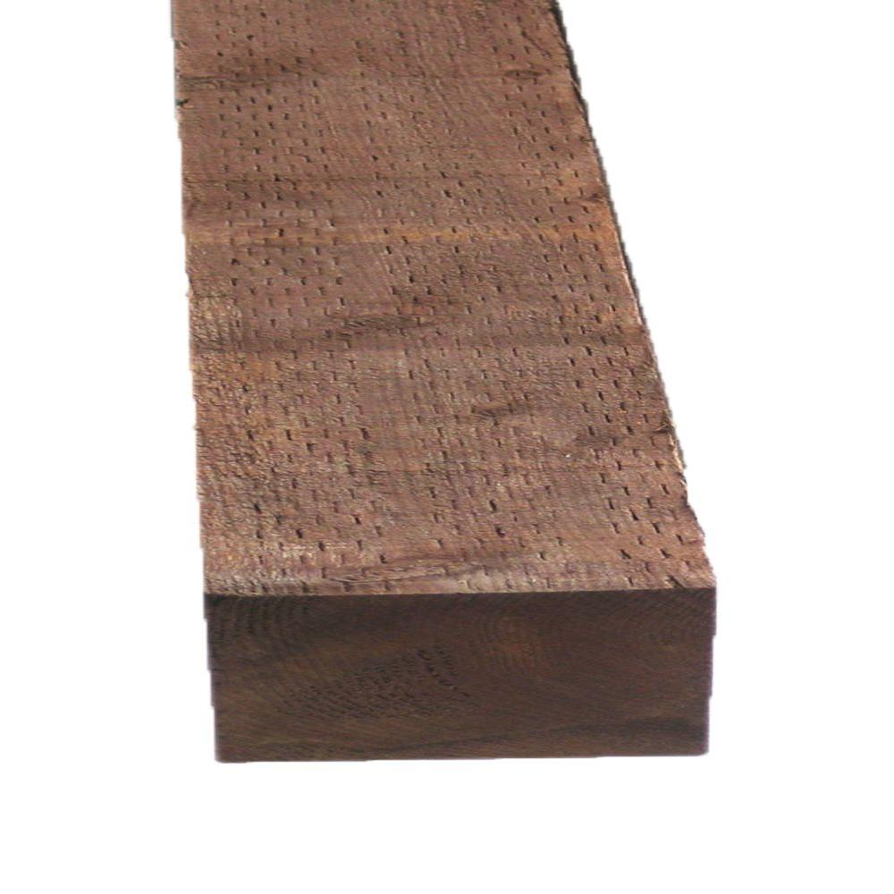 Pressure-Treated Lumber DF Brown Stain (Common: 4 in. x 8 in.