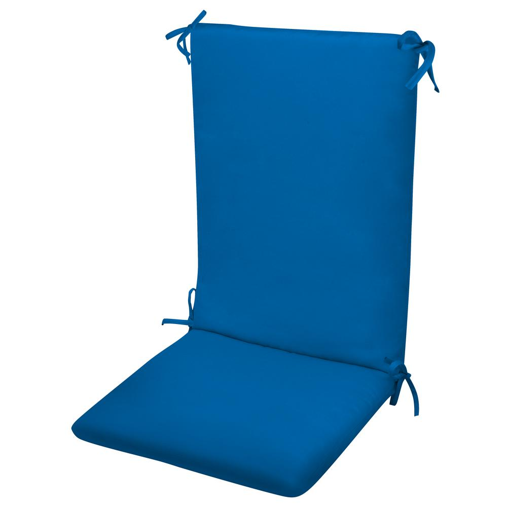 Paradise Cushions High Back Chair Cushion Knife Edge Hinged Solution Dyed Polyester Polyester Fiber Fill Pacific Blue Sun Spun Fabric
