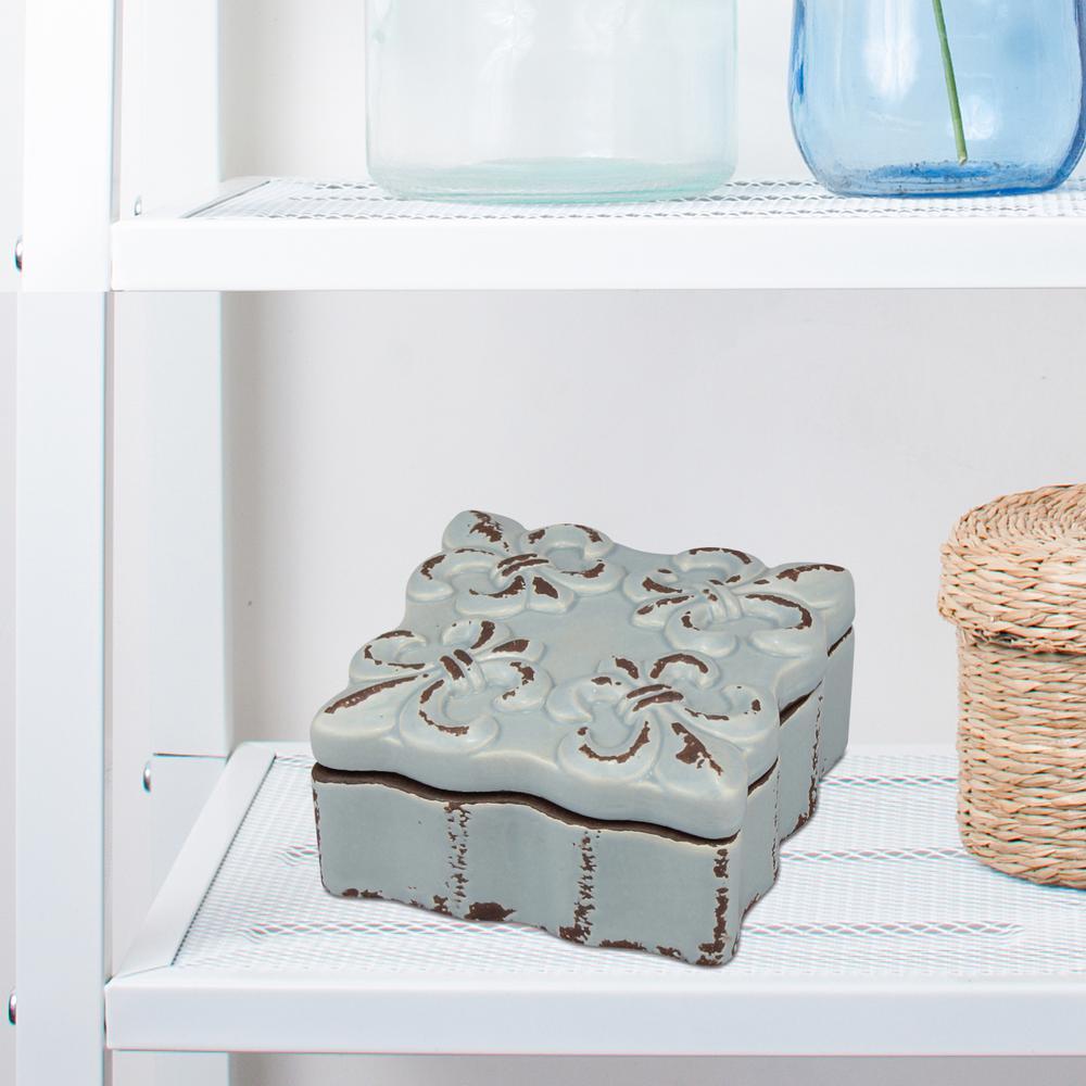 4 in. x 2 in. Worn Chambray Ceramic Fluer De Lis Trinket Box