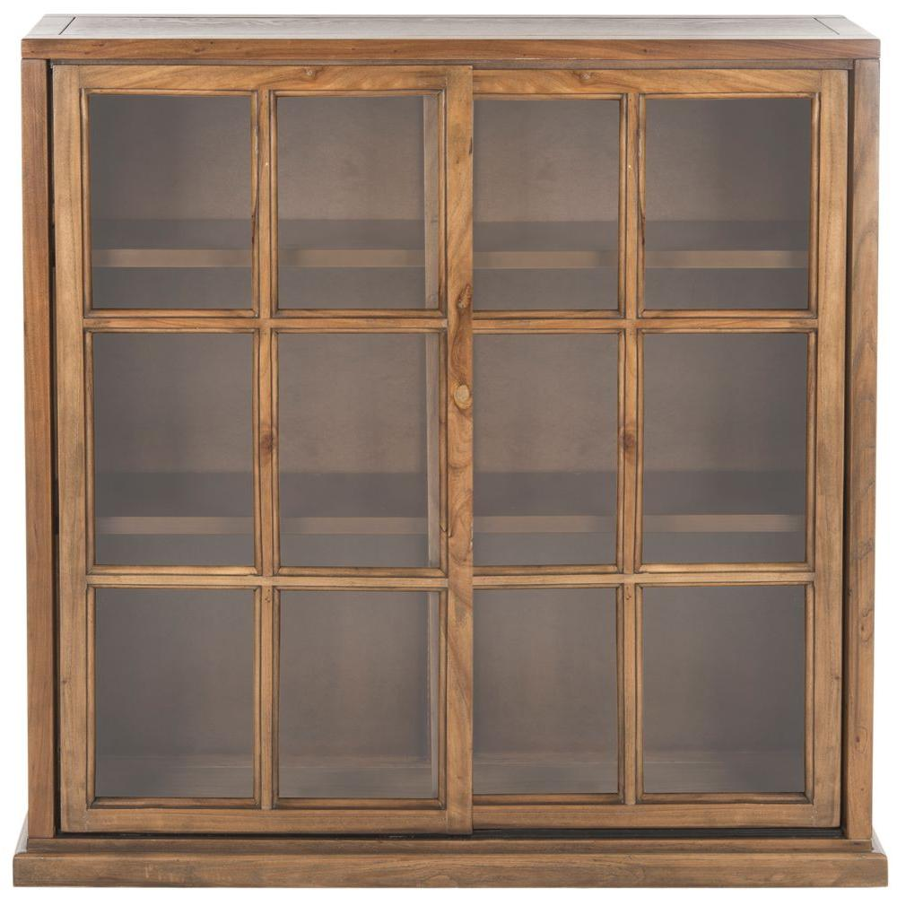 Safavieh Greg Oak Glass Door Bookcase