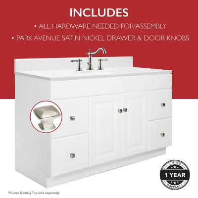 Wyndham 48 in. W x 21 in. D Unassembled Bath Vanity Cabinet Only in White Semi-Gloss