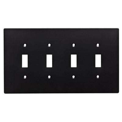 Subway Tile Decorative Quadruple Switch Plate, Flat Black