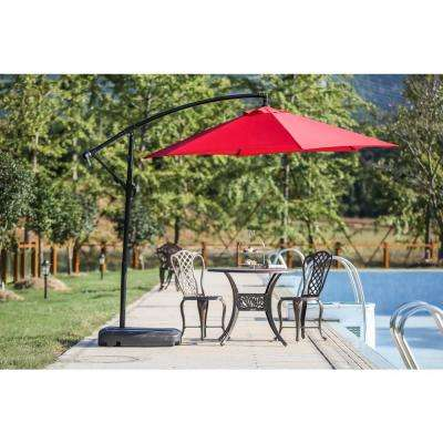 9 ft. Steel Cantilever Patio Umbrella in Red