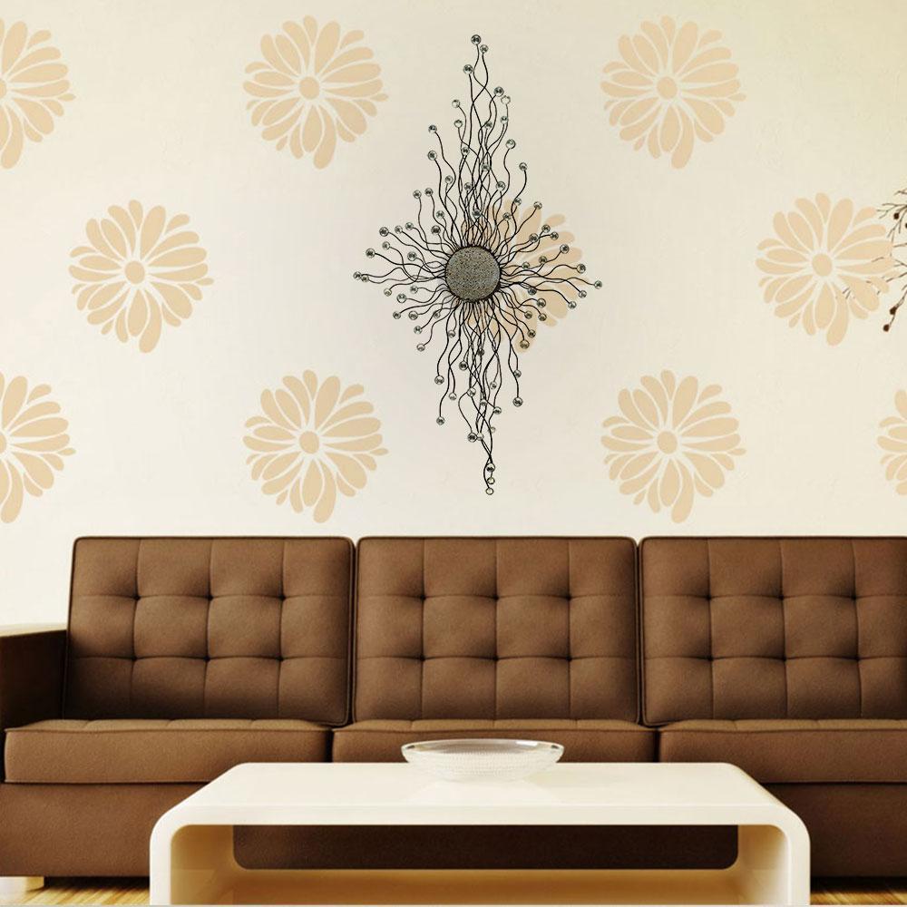 Benzara Metal Acrylic Wall Decor Adorned With Small Mirrors Bm00034