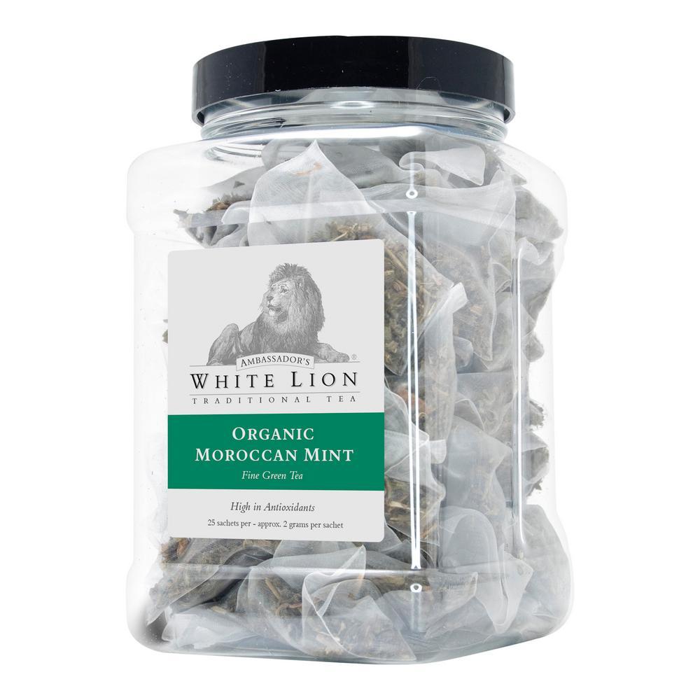 Tea Organic Moroccan Mint Bulk 25 Sachets Retail Canister Tea Bags Sachets (25 per Pack)