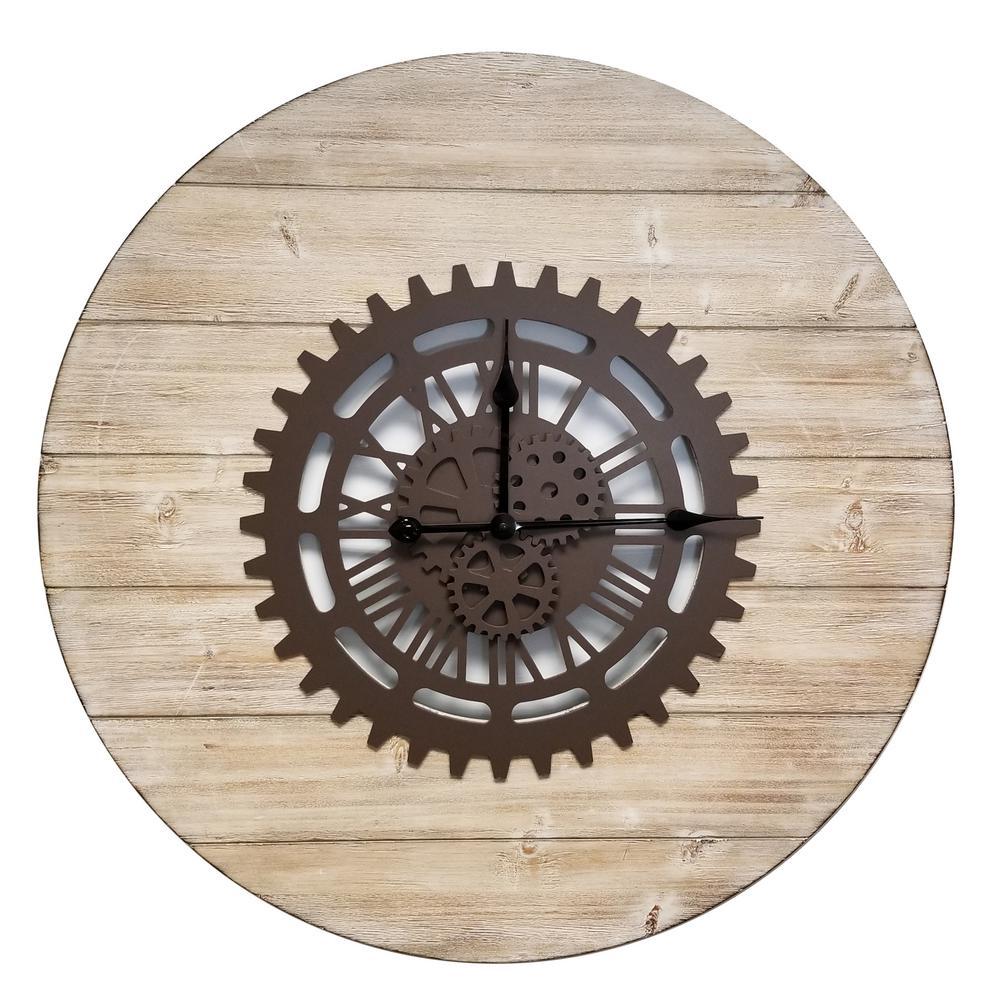 Gearz Brown Industrial Metal Clock