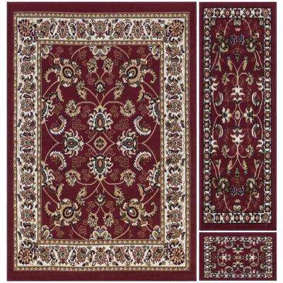 Paterson Collection Traditional Oriental Design Dark Red 5 ft. x 7 ft. 3-Piece Rug Set