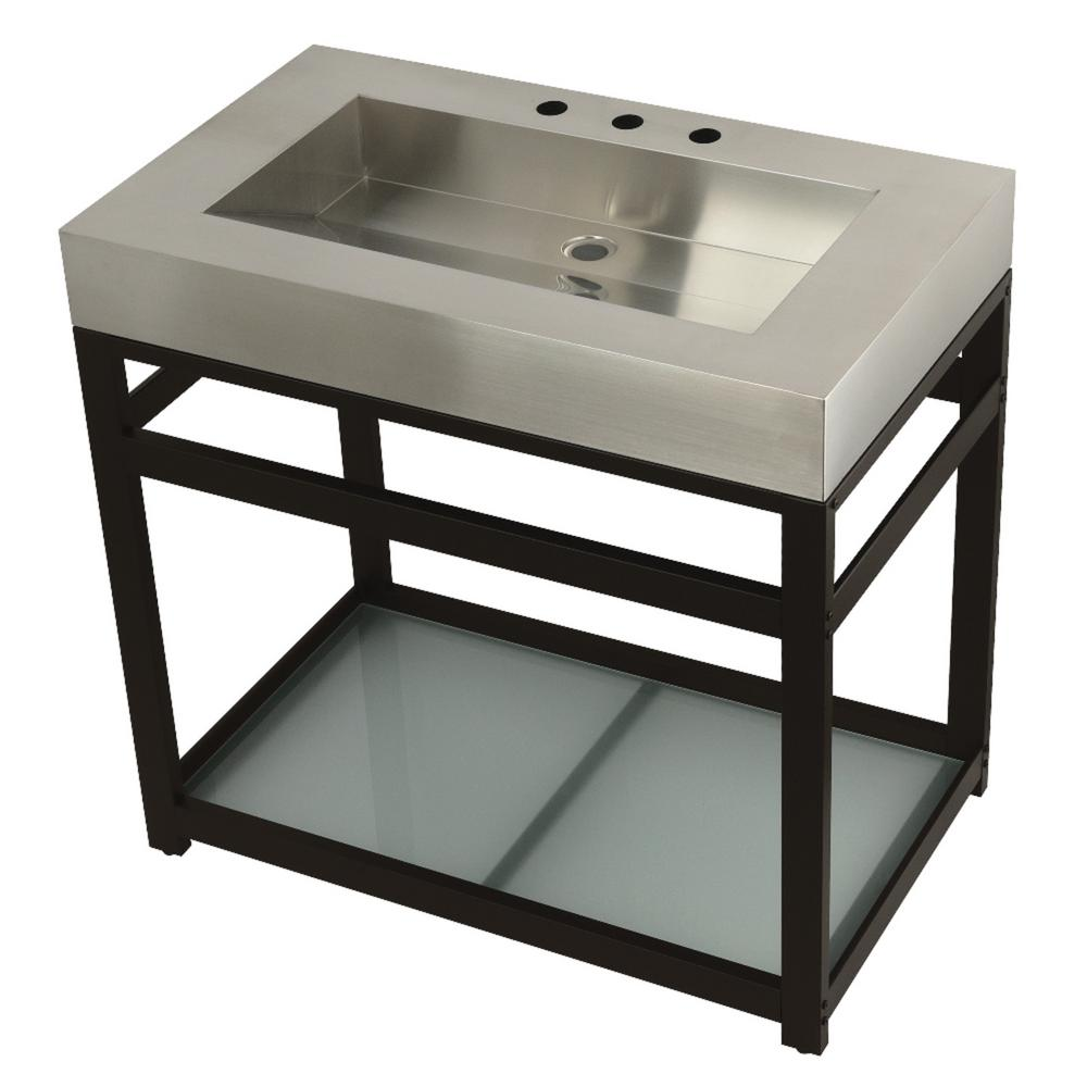 Kingston Brass 37 in. W Bath Vanity in Oil Rubbed Bronze with Stainless Steel Vanity Top in Silver with Silver Basin