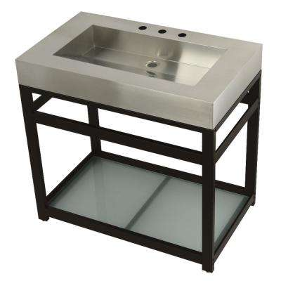 37 in. W Bath Vanity in Oil Rubbed Bronze with Stainless Steel Vanity Top in Silver with Silver Basin