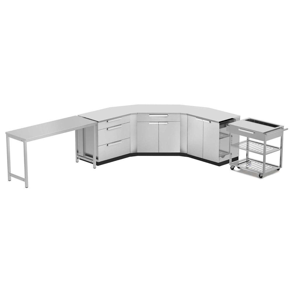 Stainless Steel Classic 10-Piece 150x36x86 in. Outdoor Kitchen Cabinet Set with