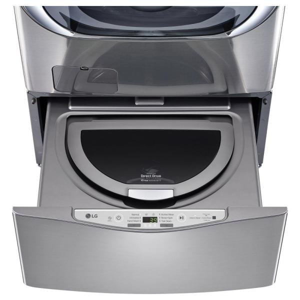 LG Electronics 27 in. 1.0 cu. ft. SideKick Pedestal Washer with TWINWash System Compatibility in Graphite Steel