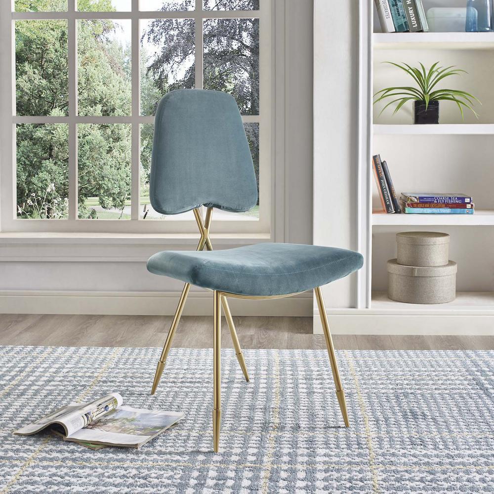 MODWAY Ponder Upholstered Velvet Dining Side Chair in Sea EEI-2811-SEA
