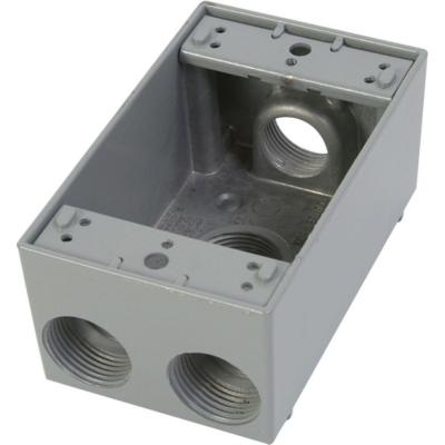 1 Gang Weatherproof Electrical Outlet Box with Four 3/4 in. Holes - Gray