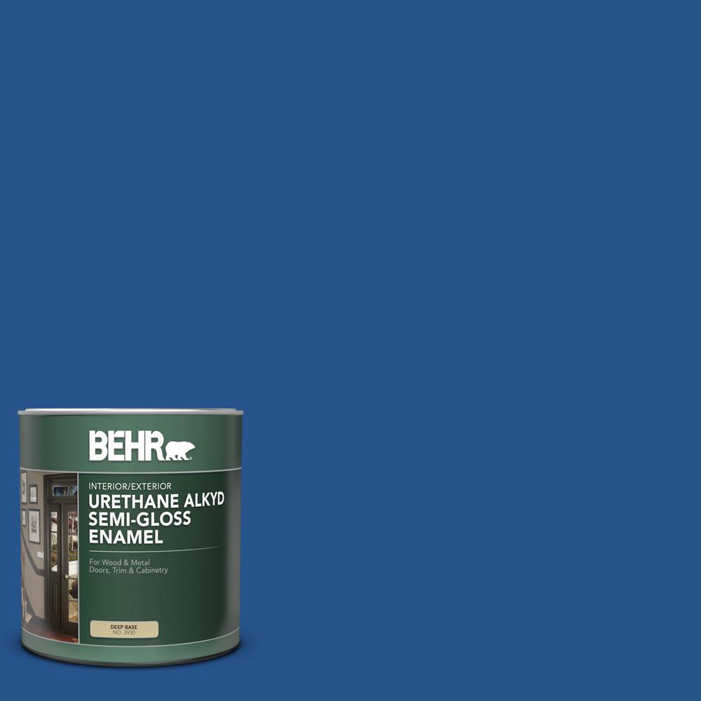 BEHR 1 qt. #PPU15-03 Dark Cobalt Blue Semi-Gloss Enamel Urethane Alkyd Interior/Exterior Paint