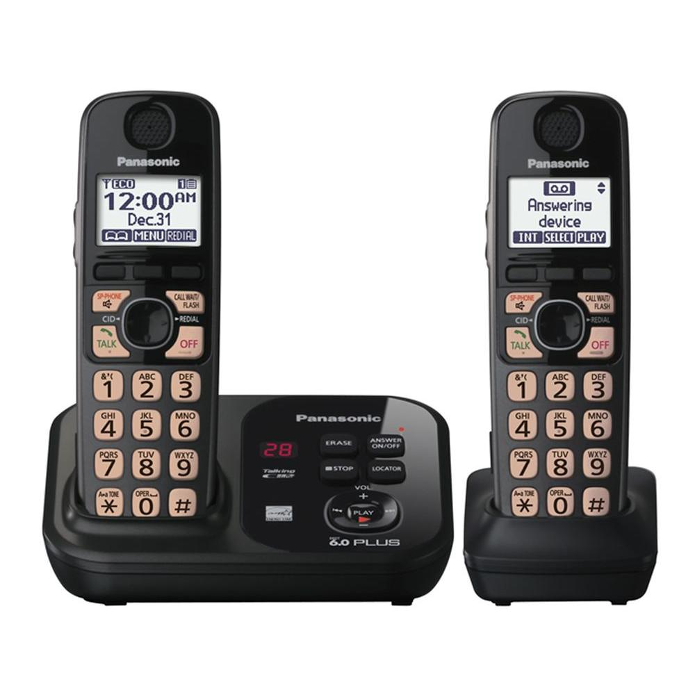Panasonic Dect 6.0+, Cordless Phone with Digital Answering System, Caller ID and 2 Handsets-DISCONTINUED