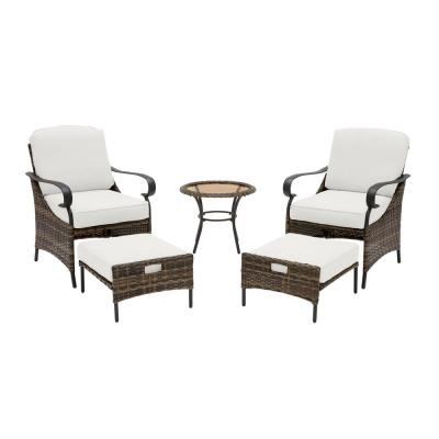 Layton Pointe 5-Piece Brown Wicker Outdoor Patio Conversation Seating Set with CushionGuard Chalk White Cushions