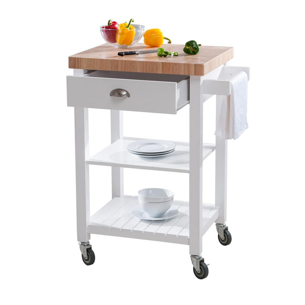 Beau White Kitchen Cart Butcher Block Top Shelves Drawer Rolling Wheels Towel Bar
