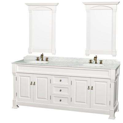 Andover 80 in. Vanity in White with Marble Vanity Top in Carrara White with Porcelain Sink and Mirror