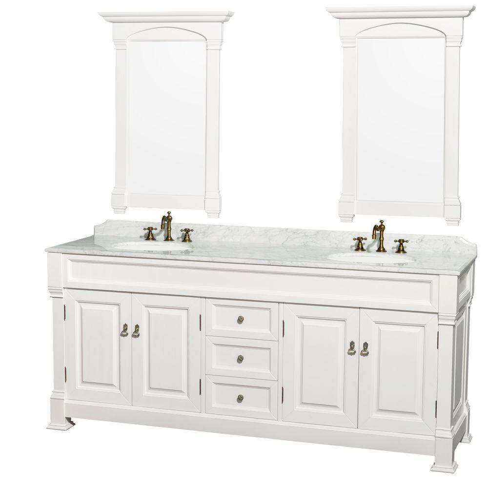 Wyndham Collection Andover 80 in. Vanity in White with Marble Vanity Top in Carrara White with Porcelain Sink and Mirror
