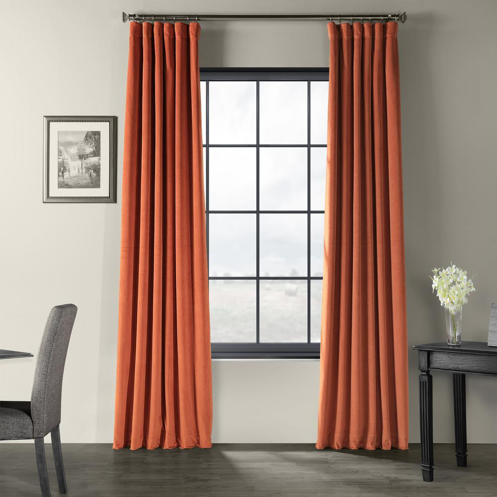 Signature Burnt Pumpkin Orange Blackout Velvet Curtain - 50 in. W x 96 in. L