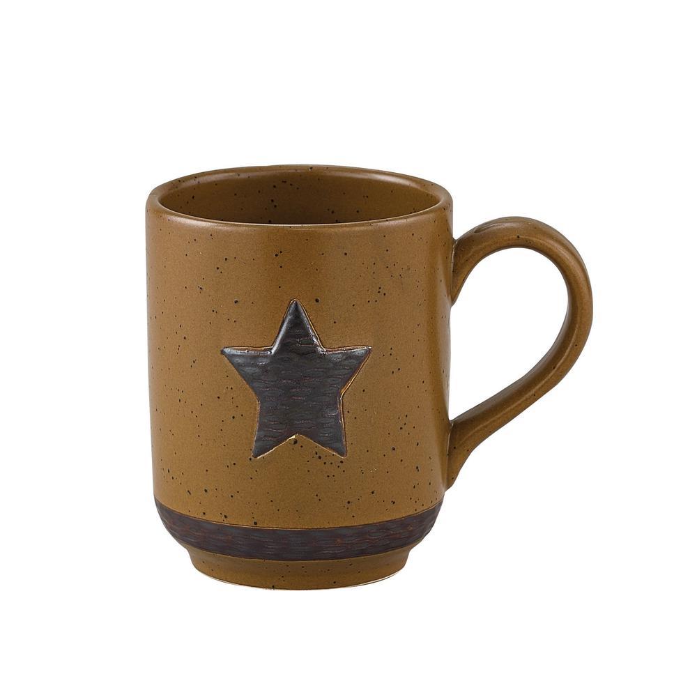 Sawmill 12 oz. Brown Ceramic Star Coffee Mug (Set of 4)