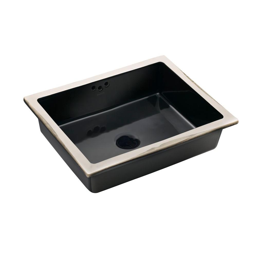 KOHLER Kathryn Vitreous China Undermount Bathroom Sink In Black Black With  Overflow Drain