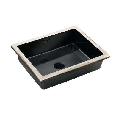 Kathryn Vitreous China Undermount Bathroom Sink in Black Black with Overflow Drain