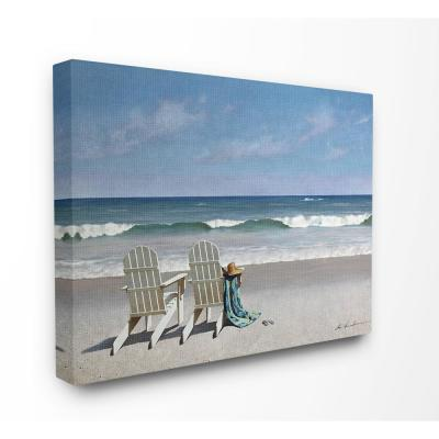 """24 in. x 30 in. """"Two White Adirondack Chairs on the Beach"""" by Zhen-Huan Lu Canvas Wall Art"""