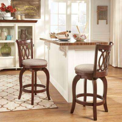 24 in. Loehr Cherry Swivel Cushioned Bar Stool