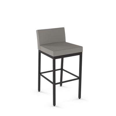 Textured Dark Brown Metal Warm Grey Polyurethane Counter Stool