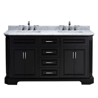 Bristol 60 in. Vanity in Black with Marble Vanity Top in Carrara White