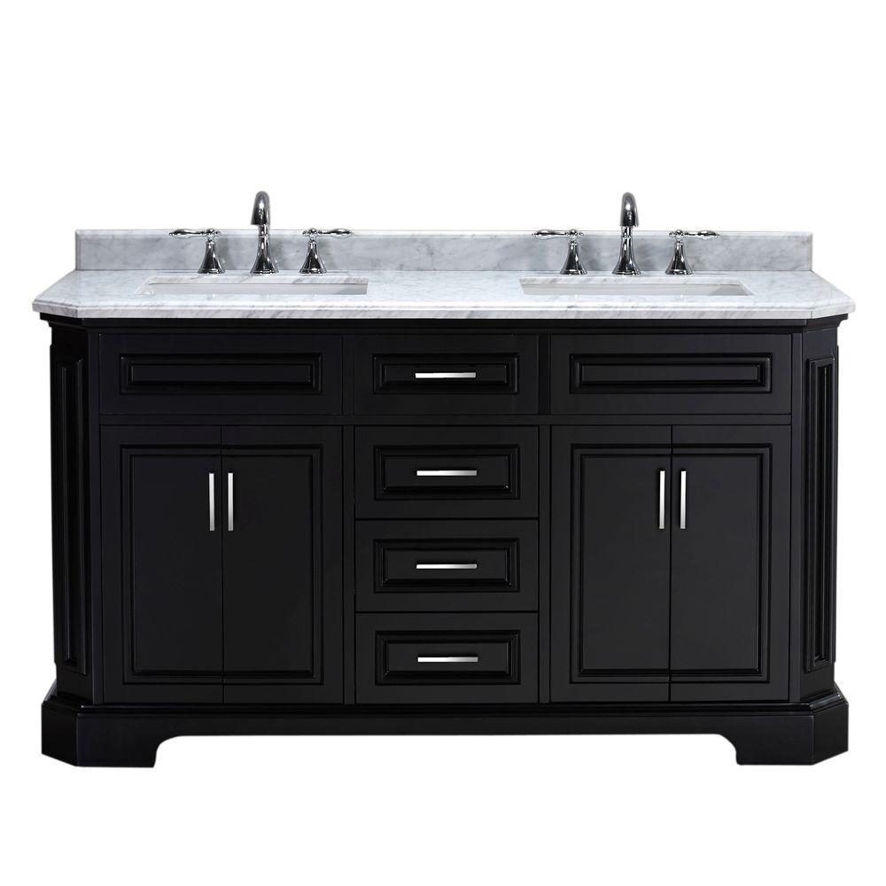 Bristol 60 in. Vanity in Black with Marble Vanity Top in Carrara White