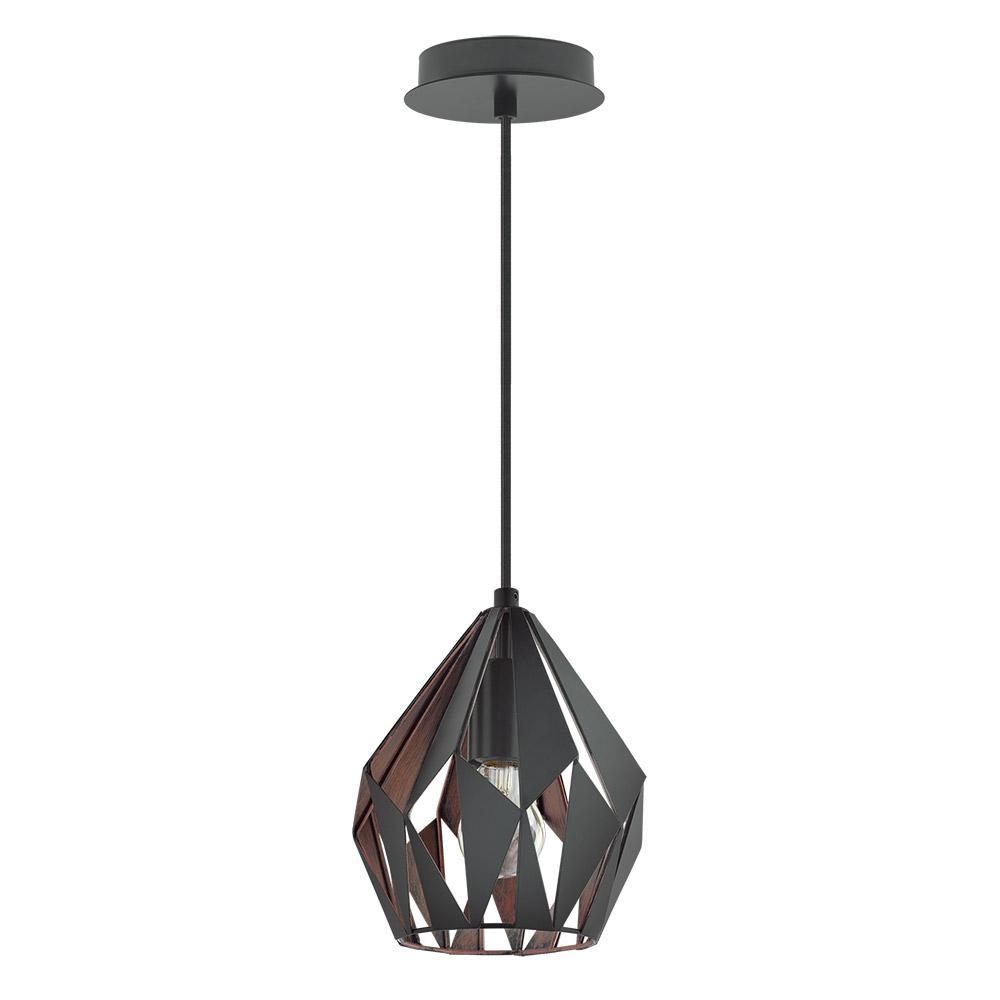 Eglo Carlton 3 1 Light Matte Black And Copper Pendant