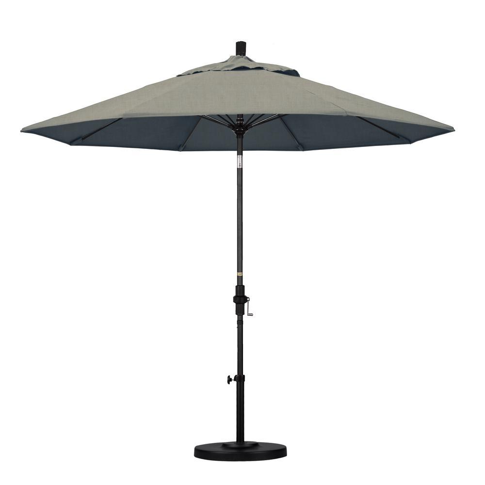 9 ft. Matted Black Aluminum Market Patio Umbrella with Collar Tilt Crank Lift in Spectrum Dove Sunbrella