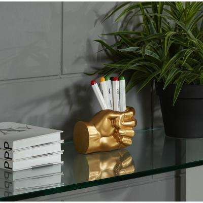Hand Fist Gold Resin Pen Holder
