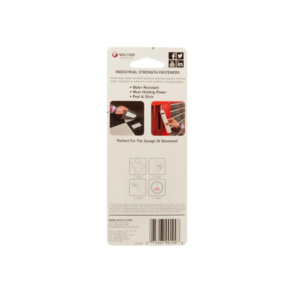 "4 PCS VELCRO Brand Industrial Strength Tape 4/"" x 2/"" Strips Heavy Duty Black New"