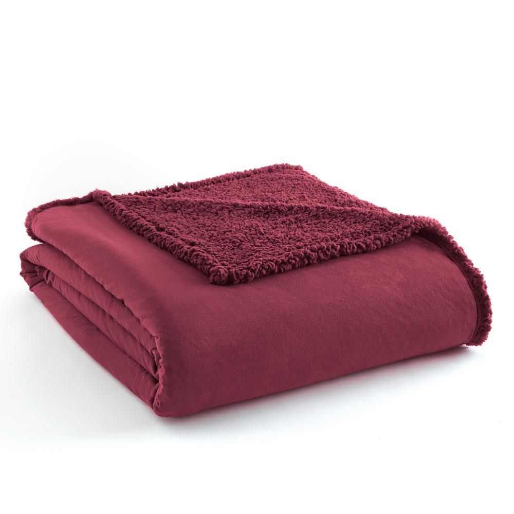 Micro Flannel Reverse to Sherpa Wine Blanket-MFNSHBKTWWNE - The Home ... 751015001