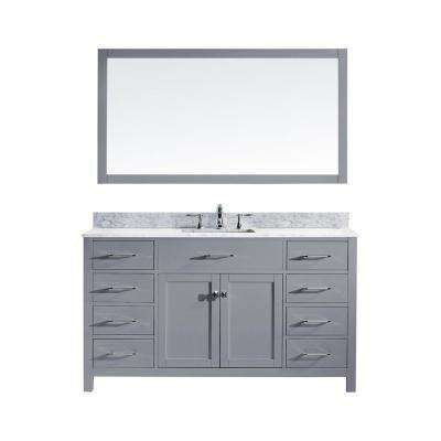 Caroline 60 in. W Bath Vanity in Gray with Marble Vanity Top in White with Square Basin and Mirror