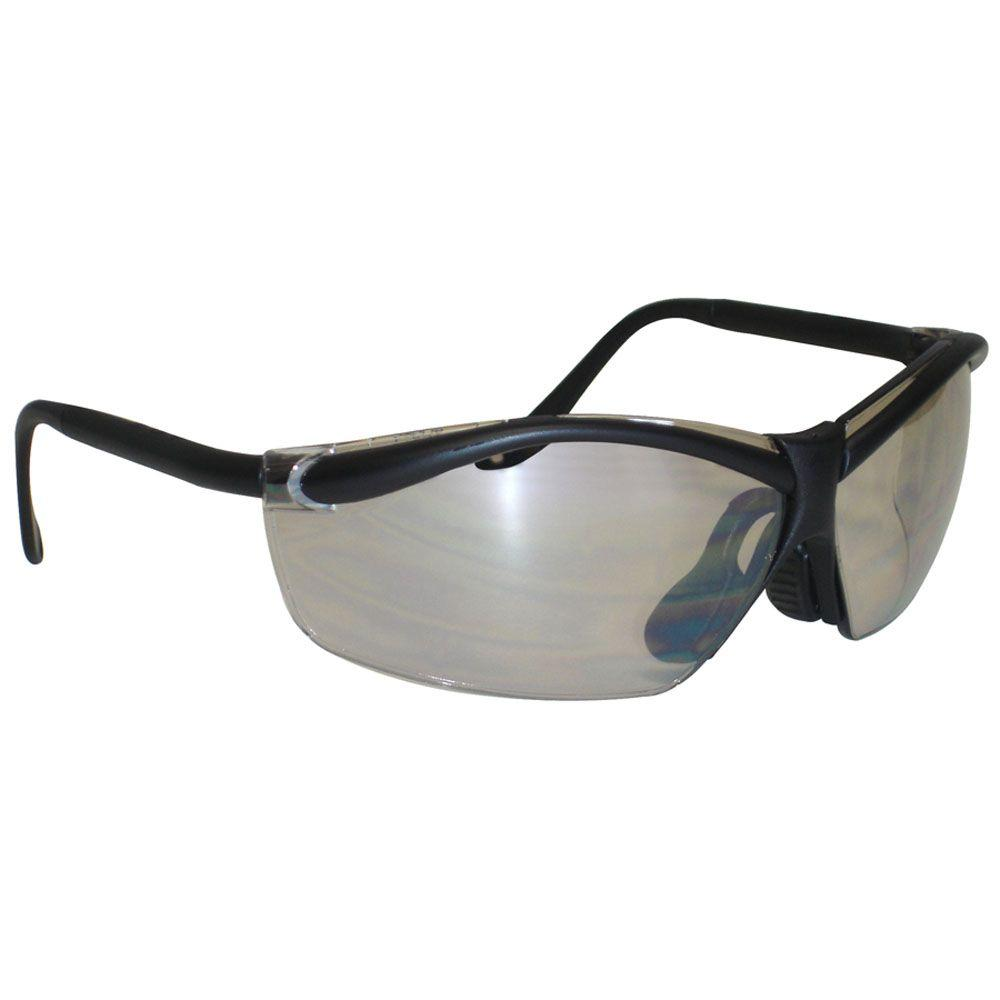 3M Black Frame with Semi-Rimless Light Silver Lenses Outdoor Safety Glasses