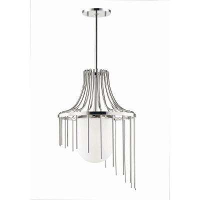 Kylie 1-Light 16 in. W Polished Nickel Pendant