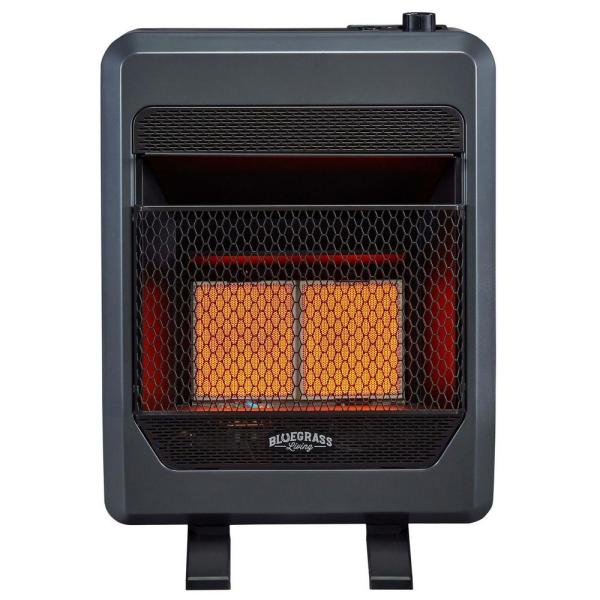 Bluegrass Living T Stat Control 20 000 Btu Vent Free Natural Gas Infrared Gas Space Heater With Blower 200088 The Home Depot