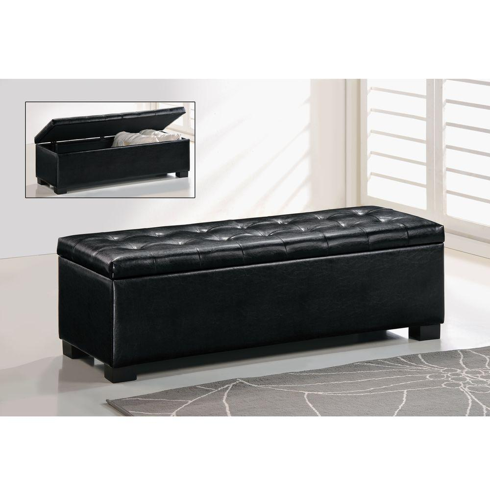 Baxton Studio Roanoke Black Storage Bench 28862 5274 Hd The Home Depot
